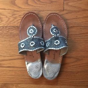 Silver and Charcoal Glitter Jack Rogers